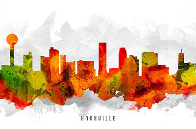 Knoxville Painting - Knoxville Tennessee Cityscape 15 by Aged Pixel