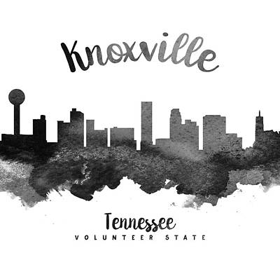 Tennessee Painting - Knoxville Tennessee Skyline 18 by Aged Pixel