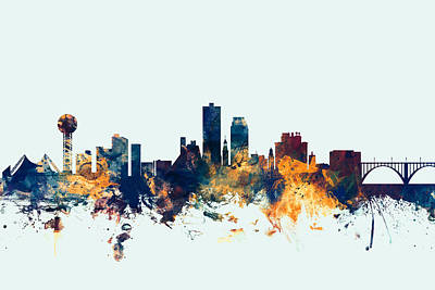 Tennessee Digital Art - Knoxville Tennessee Skyline by Michael Tompsett