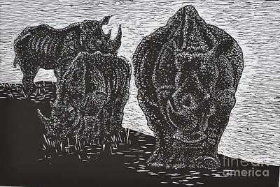 Linocut Drawing - Knp White Rhinos by Sarojini Muller