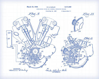 Painting - Knucklehead Patent Drawing by Gary Grayson