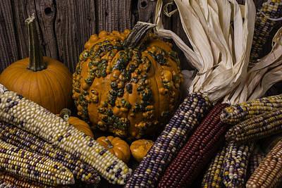 Knuklehead Pumpkin And Indian Corn Art Print