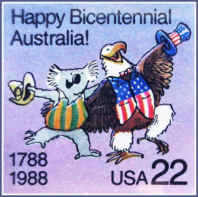 Bicentennial Painting - Koala And American Bald Eagle by Lanjee Chee
