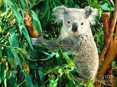 Koala Mixed Media - Koala Bear In Tree by Garland Johnson