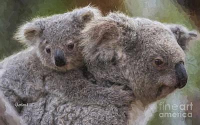 Koala Mixed Media - Koala Bear With Baby by Garland Johnson
