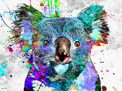 Koala Pop Art Mixed Media - Koala by Daniel Janda