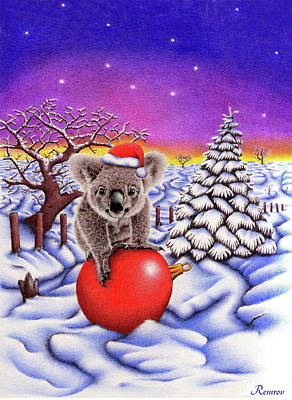 Animals Drawings - Koala on Christmas Ball by Casey