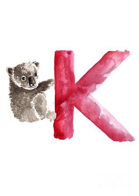 Koala Wall Art - Painting - Koala Watercolor Alphabet Poster by Joanna Szmerdt