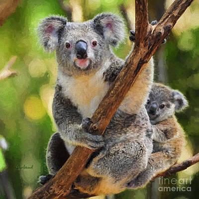 Koala Mixed Media - Koala With Baby by Garland Johnson