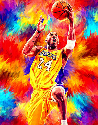 Kobe Bryant Basketball Art Portrait Painting Print by Andres Ramos