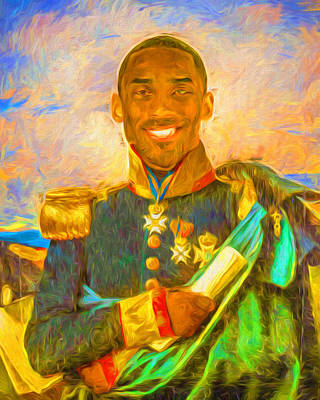 Magic Johnson Photograph - Kobe Bryant Floor General Digital Painting La Lakers by David Haskett