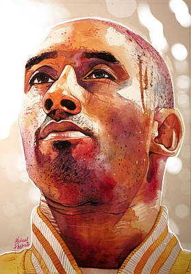 Kobe Painting - Kobe Bryant Lakers Final Game Gold Edition by Michael Pattison