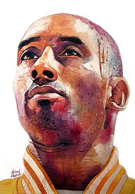 Magic Johnson Painting - Kobe Bryant Lakers Final Game by Michael Pattison