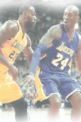 Kobe Bryant Lebron James 2 Print by Joe Hamilton