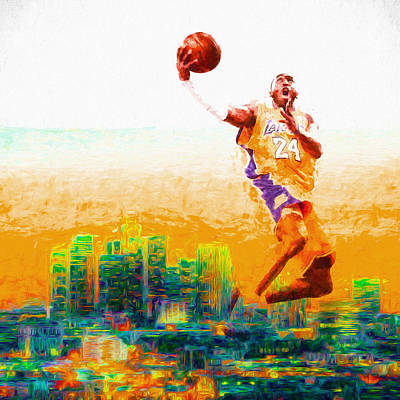 Kobe Bryant Los Angeles Lakers Digital Painting 1 Art Print by David Haskett