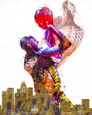 Kobe Bryant Los Angeles Lakers Digital Painting Snake 1 Art Print by David Haskett