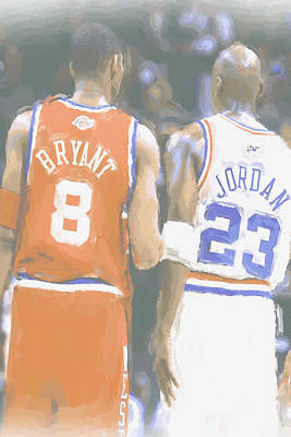 Kobe Bryant Michael Jordan 2 Art Print by Joe Hamilton