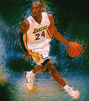 Los Angeles Lakers Digital Art - Kobe Bryant by Semih Yurdabak