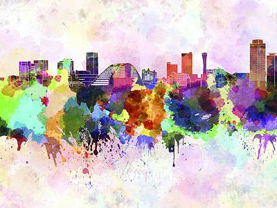 Kobe Skyline In Watercolor Background Art Print by Pablo Romero