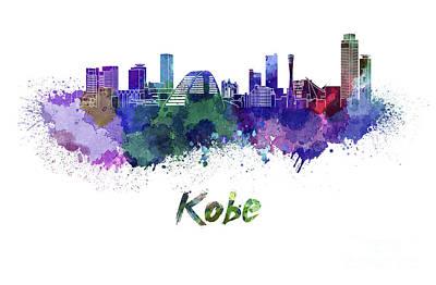 Kobe Skyline In Watercolor Art Print by Pablo Romero