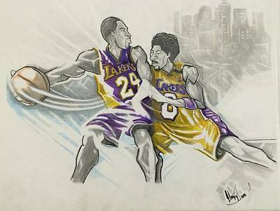 La Lakers Mixed Media - Kobe Vs Kobe by Gregory Taylor