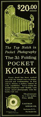 Vinatge Photograph - Kodak 3a Folding Camera Ad by Jennifer Rondinelli Reilly - Fine Art Photography