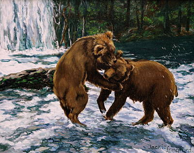 Wrestle Painting - Kodiak Bears Fishing At Brooks Camp by Jackie Langford