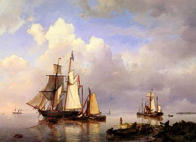 Koekkoek Hermanus Vessels At Anchor In Estuary With Fisherman Art Print