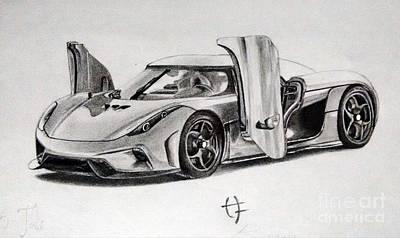 Super Cars Drawing - Koenigsegg Regera by Hrishikesh Joshi