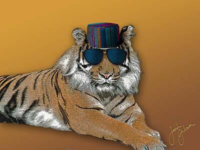 Digital Art - Kofia Tiger With Shades by Jonah Gibson