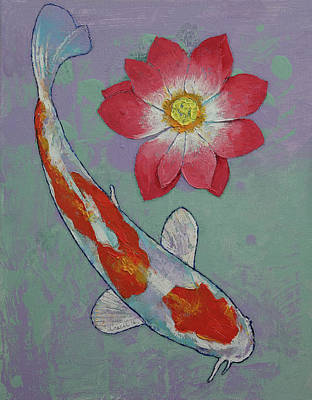 Lilly Pond Painting - Koi And Lotus by Michael Creese