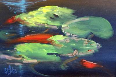 Lilly Pond Painting - Koi At Play by Sally Seago
