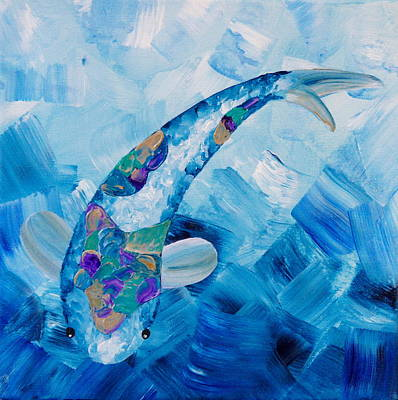 Painting - Koi Blue by Shiela Gosselin