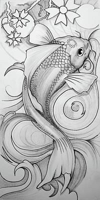 Koi Drawing - Koi by Brian Gibbs