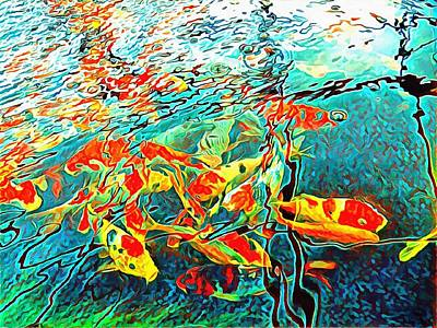 Digital Art - Koi Carp Abstraction by Dorothy Berry-Lound