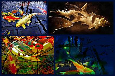 Digital Art - Koi Carp Collage by Dorothy Berry-Lound