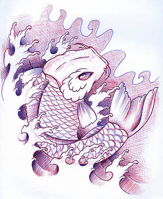 Koi Carp Tattoo Art Art Print by Samuel Whitton