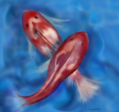 Painting - Koi by Christine Fournier