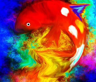 Decor Digital Art - Koi Fish Fantasy by Abstract Angel Artist Stephen K