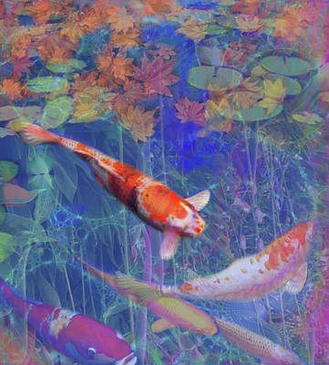 Painting - Koi Fish Pond Japanese Tea Garden  by Julianne Ososke