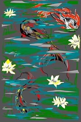 Greeting Card - Koi Fish by Rae Chichilnitsky