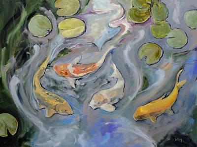 Fishscape Painting - Koi Grace by Donna Tuten