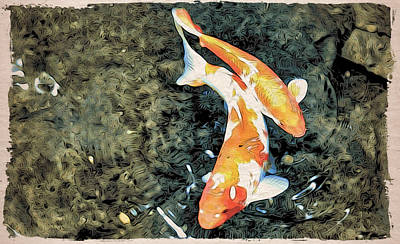 Photograph - Koi Moku Hanga Art by Cameron Wood