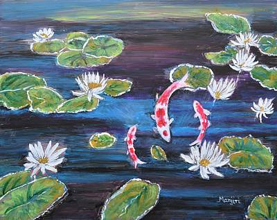 Painting - Koi In Lilly Pond by Manjiri Kanvinde