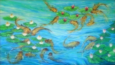 Lynn Burton Wall Art - Painting - Koi In Motion  by Lynn Burton