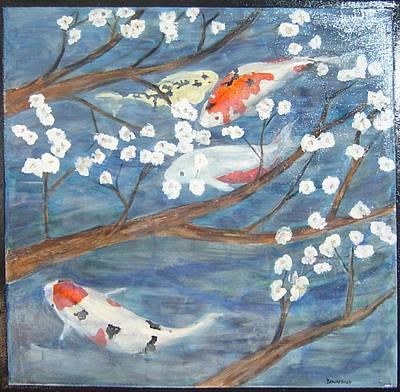 Painting - Koi In Pond by Ellen Beauregard