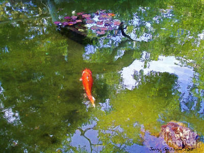 Koi In Reflective Water Garden Art Print by Jerry Grissom