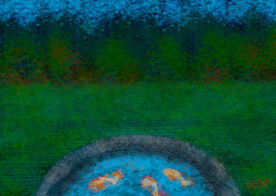 Digital Art - Koi In The Evening Orig Version by Bonnie Follett