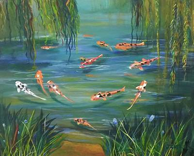 Painting -  Koi In The  Willows by Jane Ricker