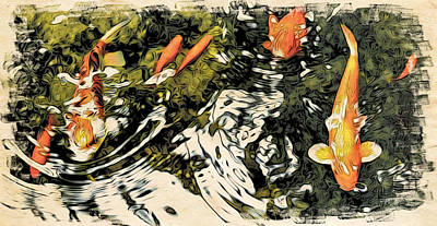 Photograph - Moku Hanga Koi II by Cameron Wood